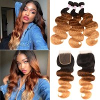Beautyforever Dark Blonde Ombre Hair 1b/4/27 Body Wave Weave 3Bundles With 4x4 Lace Closure