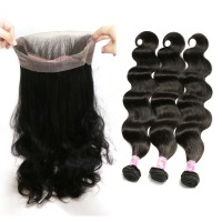 Beautyforever 370 Lace Frontal With Body Wave Human Hair 3Bundles For Women