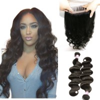Beautyforever 360 Lace Frontal Body Wave With 2Bundles Virgin Human Hair Weave