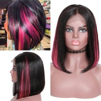Beautyforever Bob Pink Highlights Straight Hair 13x4 Lace Front Wigs 150% Density Without Bangs