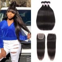 Beautyforever Free Part 4x4 HD Lace Closure With 3Bundles Indian Straight Human Hair