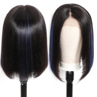 Beautyforever Straight Realistic Bob Lace Front Wigs Blue Highlights For Black Hair 150% Density
