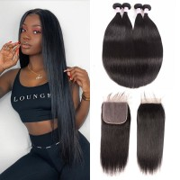 Beautyforever Malaysian 4 Bundles Straight Virgin Hair With 7*7 Lace Closure Natural Color On Sale
