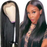 Beautyforever 150% Density Long Straight 13x4 Lace Front Wigs Virgin Human Hair With Baby Hair Natural Color