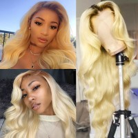 Beautyforever T4/613 Ombre Blonde Body Wave Human Hair 360 Lace Wigs Pre Plucked Natural Hairline 180% Density