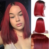 Beautyforever Ombre Black To Red Color Short Straight Hair 13x4 Lace Front Bob Wigs 150% Density
