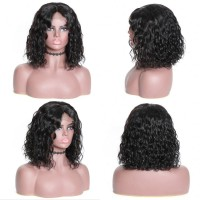 Beautyforever 180% Density Short Bob Human Hair Lace Front Wigs Water Wave Hair