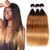 Beautyforever Brazilian Ombre Straight Hair 3Bundles Human Hair Weave 1B/4/27