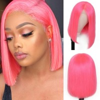 Beautyforever Remy Hair Short Straight Pink Bob 13x4 Lace Front Wigs Human Hair 150% Density