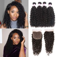 Beautyforever Indian Curly 4x4 Lace Closure With Virgin Hair 4Bundles