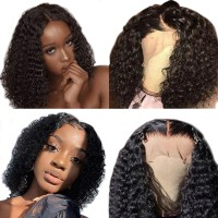Beautyforever Short Bob Wig 13x4 Lace Front Wigs 130% Density Jerry Curly 100% Human Hair Super Soft