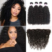 Beautyforever 4Bundles Peruvian Jerry Curly Hair With 13*4 Lace Frontal Closure