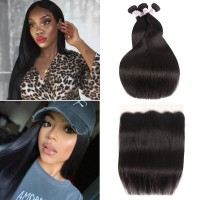 Beautyforever Malaysian Lace Frontal Closure With 3Bundles Straight Hair