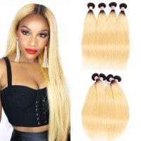 Beautyforever Straight Hair Weave 4Bundles T1b/613 Ombre Human Hair Weft