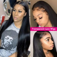 Beautyforever Transparent Lace Front Wigs Straight  Wave 180% Density 13x4 Pre-plucked  100% Human Hair Wig