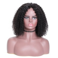 Beautyforever Realistic Kinky Curly Short Bob Wigs Human Hair Lace Front Wigs Natural Color