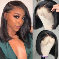 Beautyforever Straight Short Bob Wigs Pre-Plucked Lace Front Wig Virgin Human Hair 130% 150% Density