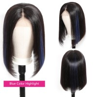 Beautyforever Straight Hair Highlights Color Short Bob 13x4 Lace Front Wigs Human Hair 150% Density