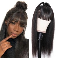 Beautyforever Straight 13x4 HD Lace Front Wigs With Bangs 130% Density Virgin Hair Wigs