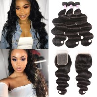 Beautyforever Indian 5x5 Transparent Lace Closure With Body Wave Hair 3 Bundles