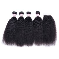 Beautyforever Kinky Straight 4 Bundles With Closure 4X4 Inch Raw Virgin Hair