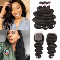 Beautyforever Malaysian Free Part 5x5 HD Lace Closure With 3 Bundles Body Wave