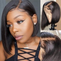 Beautyforever Short Full Lace Bob Wigs Straight Virgin Human Hair 150% Density Wig Without Bangs