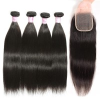 Beautyforever Indian Free Part Transparent 4x4 Lace Closure With 4Bundles Straight Hair