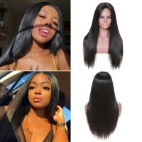 Beautyforever 180% Density Pre-plucked Straight Lace Front Wigs 100% Human Hair