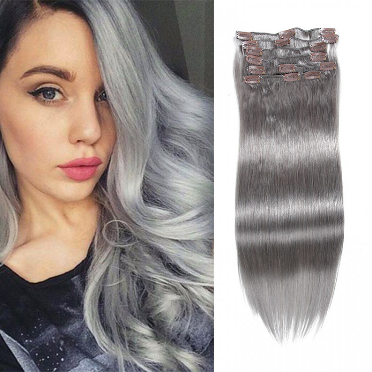 Grey Clip In Hair Extensions