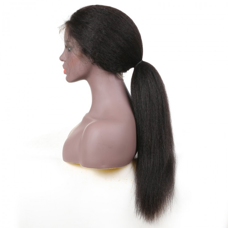 Kinky Straight Human Hair Lace Front Wig