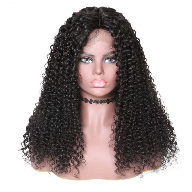 Lace Front Long Jerry Curly 150% Density Human Hair Wigs On Sale
