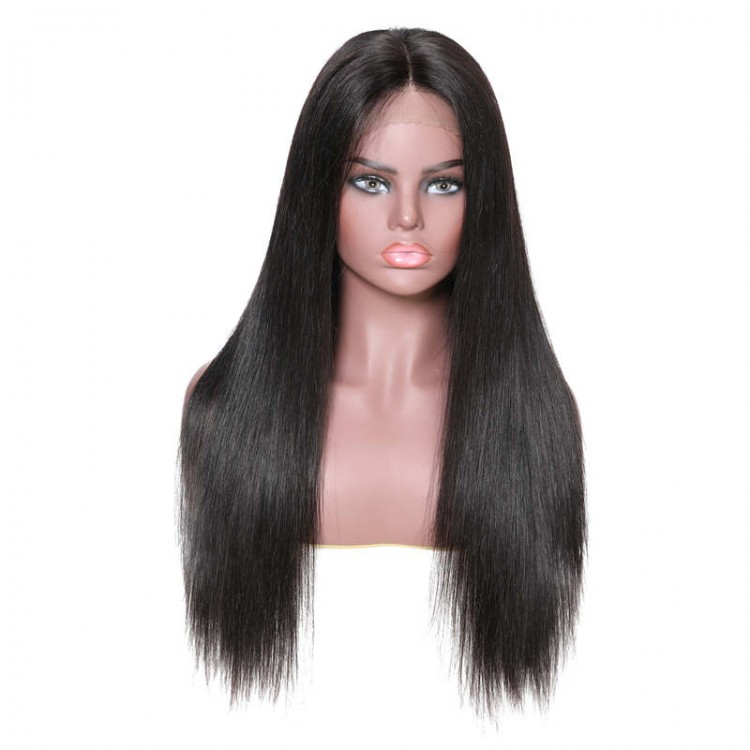 Lace Front Long Silky Straight Human Hair Wigs