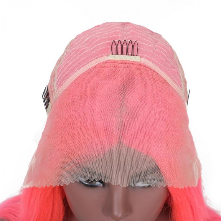 pink bob lace front wig