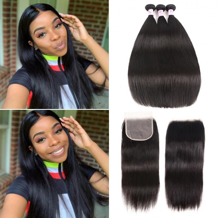 Beautyforever Malaysian 3 Bundles With Straight Free Part 5x5 Transparent Lace Closure
