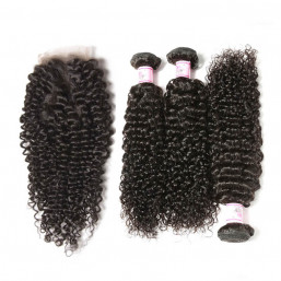 Beautyforever 3Bundles Brazilian Hair Jerry Curly With Lace Closure  4*4