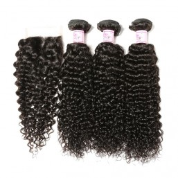 Beautyforever Malaysian Human Hair Curly 4Bundles With Closure