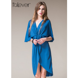 Talever Women Casual Batwing Sleeve Knee Length Sexy Deep V-neck High Split Wrap Dress