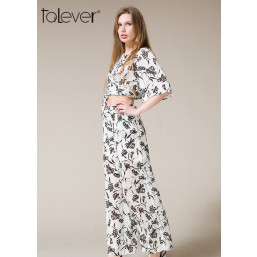Talever Two Piece O-Neck Half Sleeve Sashes Fashion Suit Sets