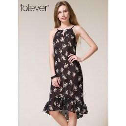 Talever Choker Halter Print Cold Shoulder Back Bowknot Ribbon Beach Chiffon Dress