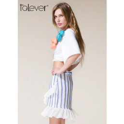 Talever Fashion Women Summer Broadcloth White Appliques Sexy Tops T-Shirt