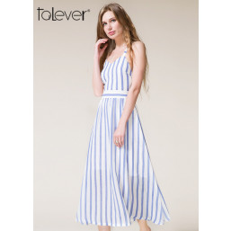 Talever Women Strip Maxi Dress Off the Shoulder Beach Sexy Back Hollow Out Dress