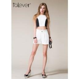 Talever Summer Women Patchwork Top Suit Sets White Pants Suit short