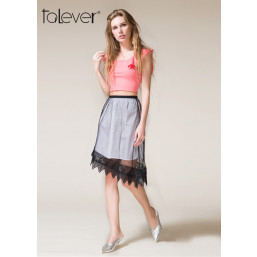 Talever Summer Mesh Perspective Asymmetrical Skirt Sexy  Women Lace Up Sweet Mini Skirt