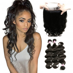Beautyforever 360 Lace Frontal Closure With Body Wave Wet and Wavy Human Hair 3Bundles