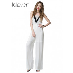 New Summer Sexy Sleeveless Women's Rompers Patchwork Bodysuit Wide Leg Ladies Jumpsuits