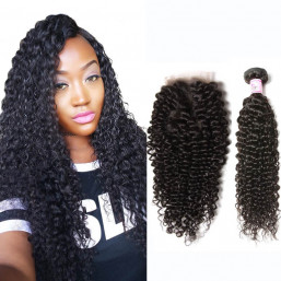 Beautyforever Best Curly Malaysian Virgin Hair 3Bundles With Lace Closure