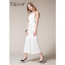 Talever Summer European Elegant Jumpsuit White Bodysuit Sexy O-neck High Waist