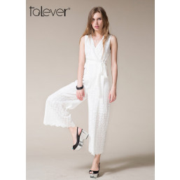 Talever Summer Elegant Lace Up Rompers Jumpsuit Casual V-neck Sleeveless