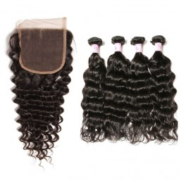 Beautyforever Deep Wave Lace Closure with 4 Bundles Virgin Hair